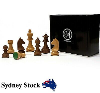 AMBRIZZOLA Tedesco Hand Carved Wooden Chess Pieces in Brown and Natural (63mm)