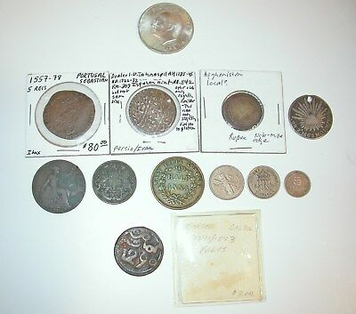 Lot Of (12) Better Foreign Coin Medieval Persian Spanish Indian Silver Included