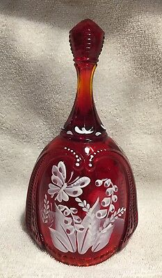 Fenton Ruby Red Hand Painted Bell