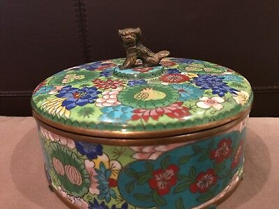Antique Chinese Cloisonne Tea Caddy LIDded Box Foo Dog Finial Bronze Old  Floral