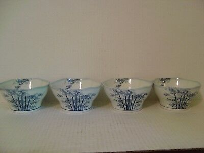 Vintage Set Of Four Porcelain Rice Bowls With Blue Bamboo Trees Signed On Bottom