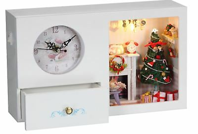 AU DIY Christmas Toy Doll House Miniature Clock, Music box, LED Lights