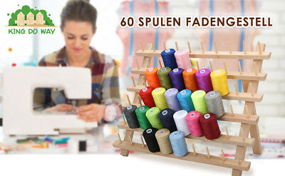 60-Spool Premium Beechwood Sewing & Embroidery Cone Holder Thread Rack Stand