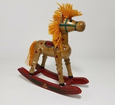Vintage Handcrafted Miniature Wooden Rocking Horse w/ Yarn Mane Christmas Decor