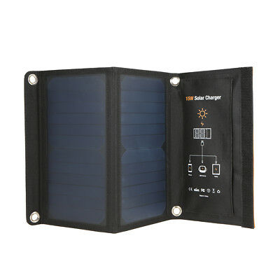 15W Dual USB IP65 Foldable Solar Panel Battery Charger Emergency Power Bank D9W8