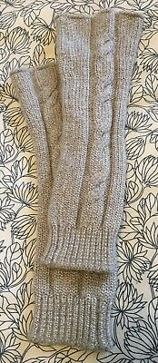 Hanna Andersson Girl's Size M Gray Wool Blend Cable Knit Leg Warmers