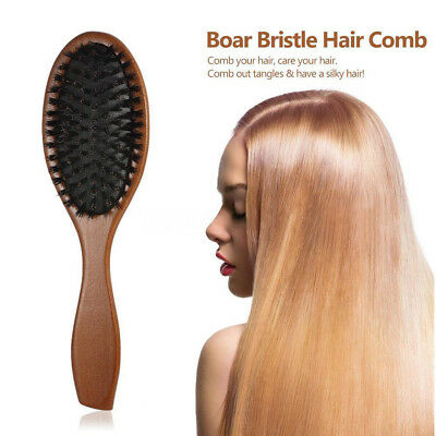 Natural Soft Boar Bristle Hair Brush Comb Scalp Massage Beech Wood Handle AU Sto