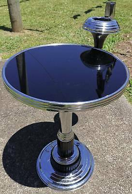 """Art Deco"" Black Bakelite and Chrome Smokers side table"