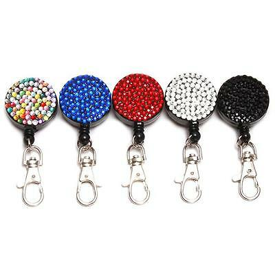 Woman Cell Phone Rhinestone Bling Crystal Retractable Vertical ID Badge Holder C
