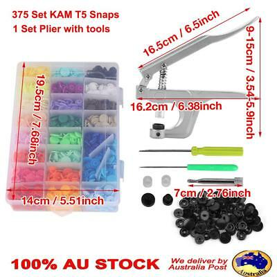 375 Set KAM Snaps T5 Snap Starter Plastic Poppers Fastener with Pliers Tools Box