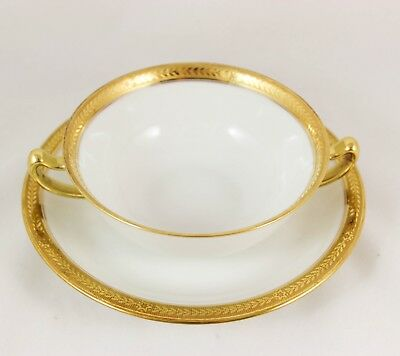 8 Sets Cream Soup Bowls & Saucers Vignaud Limoges China Gold Encrusted Laurel