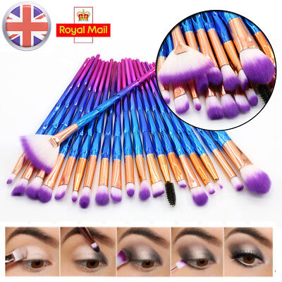 20Pcs Unicorn Diamond Make up Brushes Set Eyeshadow Powder Foundation Contour