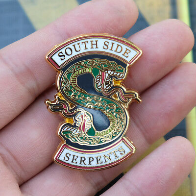 Golden Riverdale South Side Serpents Badges Pins Button Brooch Brooches 4.5cm