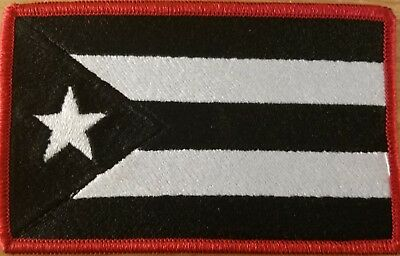 Puerto Rico Flag Patch W/ VELCRO® Brand Fastener Tactical 5 x 3 Black & White #1