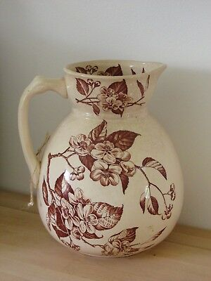 Beautiful large floral pottery jug 26cm height x 20cm diameter approx