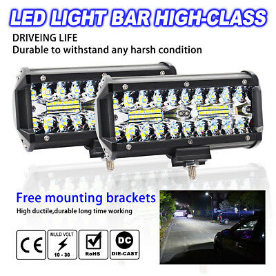 7inch 400W LED Work Light Bar Flood Spot Beam Offroad 4WD SUV Driving Fog Lamp