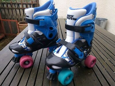 Blue No Fear Adjustable Quad Roller Skates with Rio Roller Wheels. Size 1-4