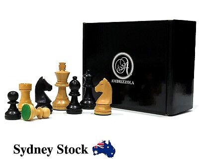 AMBRIZZOLA Tedesco Hand Carved Wooden Chess Pieces in Black and Natural (63mm)