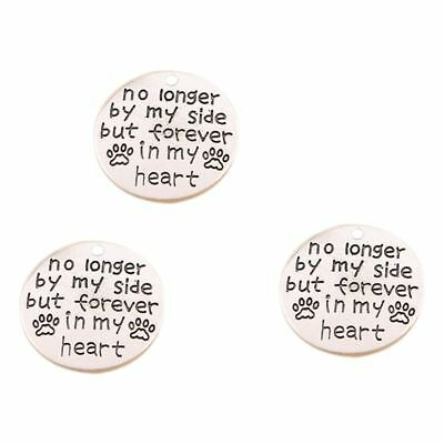 """1X(Pack of 10 Alloy Silver """"No longer by my side"""" Round DIY Antique Message Y3C1"""