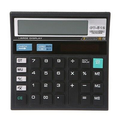Wide 12 Digit Desk Calculator Jumbo Large Buttons Solar Desktop Battery Power
