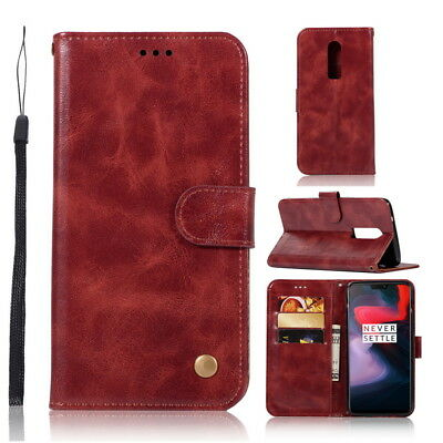 Luxury Retro Mignetic Leather Flip Wallet ID Card Case Stand Cover for OnePlus 6