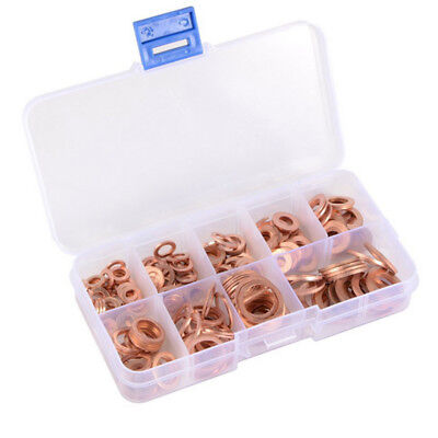 200pcs Assorted Washers Solid O-ring 200x Sizes Gaskets Kit Flat 9 Copper Crush