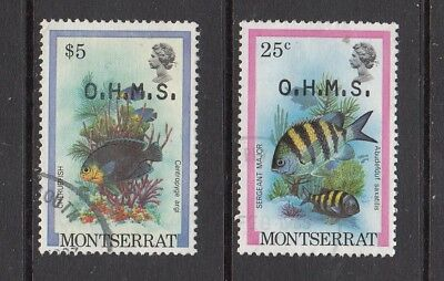 MONTSERRAT O.H.M.S. FISH STAMPS USED VALUES TO $5 .Rfno.C389.