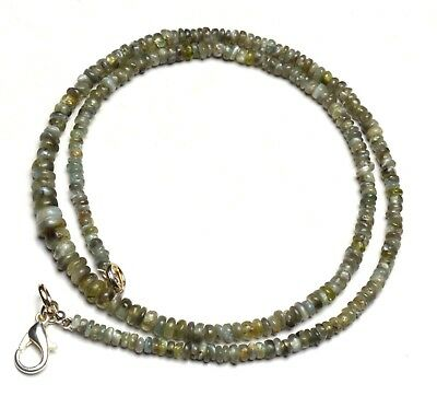 """Natural Gem Chrysoberyl Cats Eye Smooth 3 to 5MM Size Rondelle Bead Necklace 17"""""""