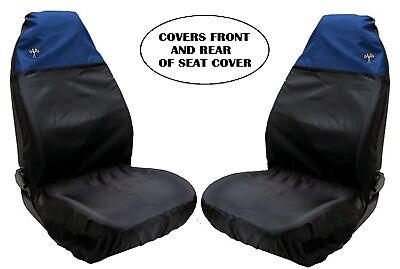 Universal Front Car Seat Covers Sporty Blue/Black Waterproof Airbag Compatible