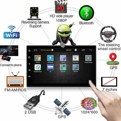 """Quad Core Android 6.0 WiFi 7"""" Double 2DIN Car GPS FM Radio Stereo MP5 Player UK"""