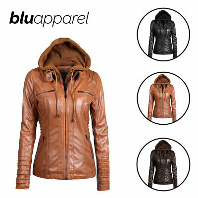 Womens Faux Leather Zip Up Bomber Hooded Ladies Jacket Biker Coat Casual Tops