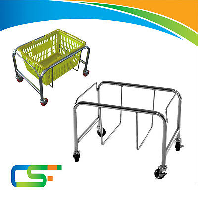 Heavy Duty Shopping Basket Stand Chrome color supermarket retail shop