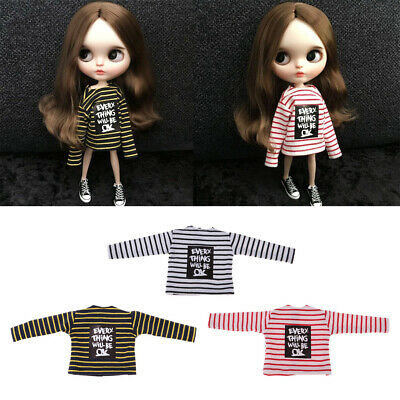 Doll Evening Party Wears Long Sleeved T-shirt Striped Tops for Blythe Doll