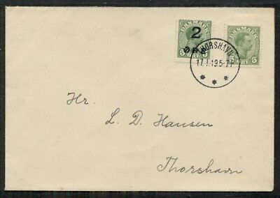 Färöer 1919, 2/5ore Provisional Ovpt + 5ore Tied Thorshavn auf Brief, VF