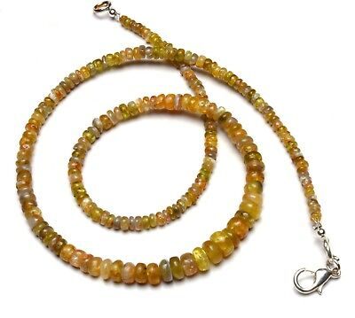 """Natural Gem Chrysoberyl Cats Eye Smooth 3 to 6MM Size Rondelle Bead Necklace 16"""""""
