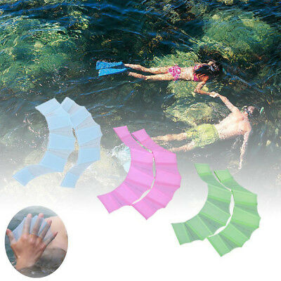Swimming Finger Webbed Glove Frog Hand Gear Fin Palm Flipper Paddle Silicone Hot