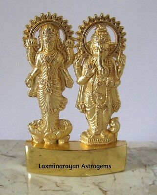 Lord Laxmi Lakshmi Ganesh Ganesha Antique Gold Plated Metal Idol Energized