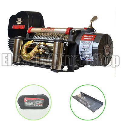 Warrior Samurai S8000 12v Winch with Winch Cover & Mounting Plate