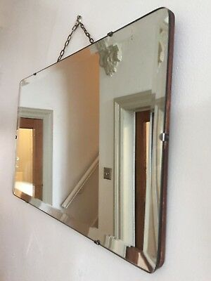 Vintage Frameless Mirror Bevelled Edge Rectangle Simple Scandi 54x33cm (m57)