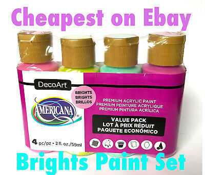 4 x 2oz Decoart Americana Acrylic Paint Brights Set Art Craft Water based Artist