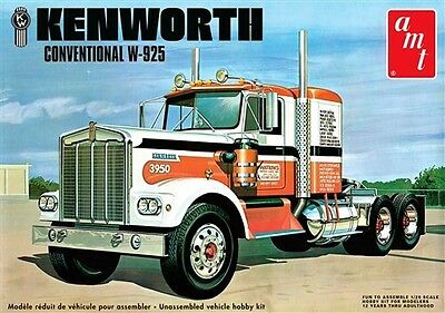 Amt 1/25 Kenworth Conventional W-925 Tractor Plastic Truck Model Kit 1021 F/s !