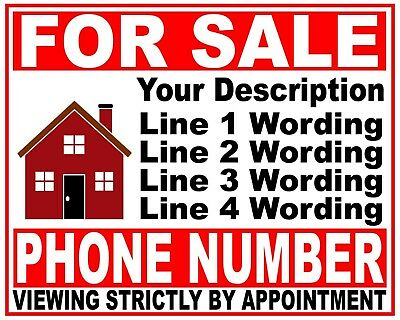 House Flat Property FOR SALE sign boards with 5 Lines of wording of your choice