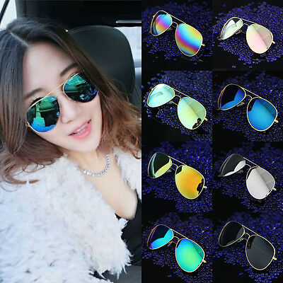 Popular Unisex Vintage Retro Women Men Glasses Aviator Mirror Lens Sunglasses