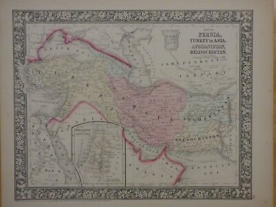 1860 Mitchell Map of Persia, Turkey, Afghanistan, Beloochistan, color, border