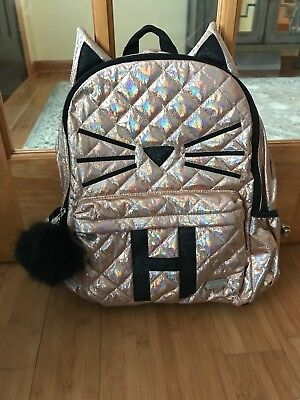 "New Justice Quilted Cat Initial ""H"" Backpack For Girls Super Cute Color Gold"