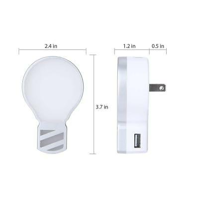 HkittyXiong Plug in LED Night Light with 5V 2.1A + 1A Dual USB Wall Charger