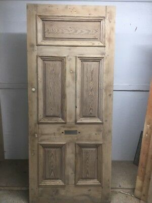 Large Victorian Front Door Wooden Reclaimed Period Old Antique Pine 1875   Strip