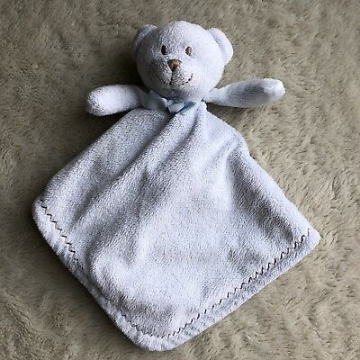 BLANKETS & BEYOND Baby Blue Bear Lovey Security Blanket Soother Cream Gray