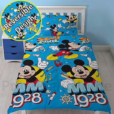 Mickey Mouse Cool Single Duvet Cover Set Blue Kids Bedding Reversible New
