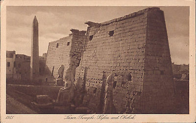 Africa Egypt old PC Luxor Temple Pylon Obelisk post card real photo used